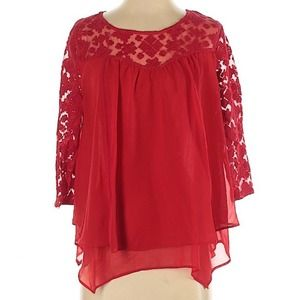 NEW DIRECTIONS Lace 3/4 Sleeve Blouse